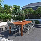 Amazonia Monaco 9-Piece Outdoor Rectangular Dining Table Set | Eucalyptus Wood | Ideal for Patio and Indoors, Dark Teak Finish