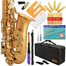 Lazarro 360-LQ E-Flat Eb Alto Saxophone Gold Lacquer with Case, 11 Reeds, Care Kit and Many Extras