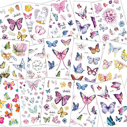SZSMART Farfalla Tatuaggi temporanei per Bambini, Finti Tatuaggio Tattoos Adesivi Giocattolo Gadget per Ragazza Bambini Festa di Compleanno Regalo, 15 Fogli
