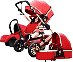 Luxury Baby Stroller 3 in 1 High Landscape Pram Foldable Pushchair & Car Seat Mainstream Color Black Gray 0 to 3 Years Old (red)