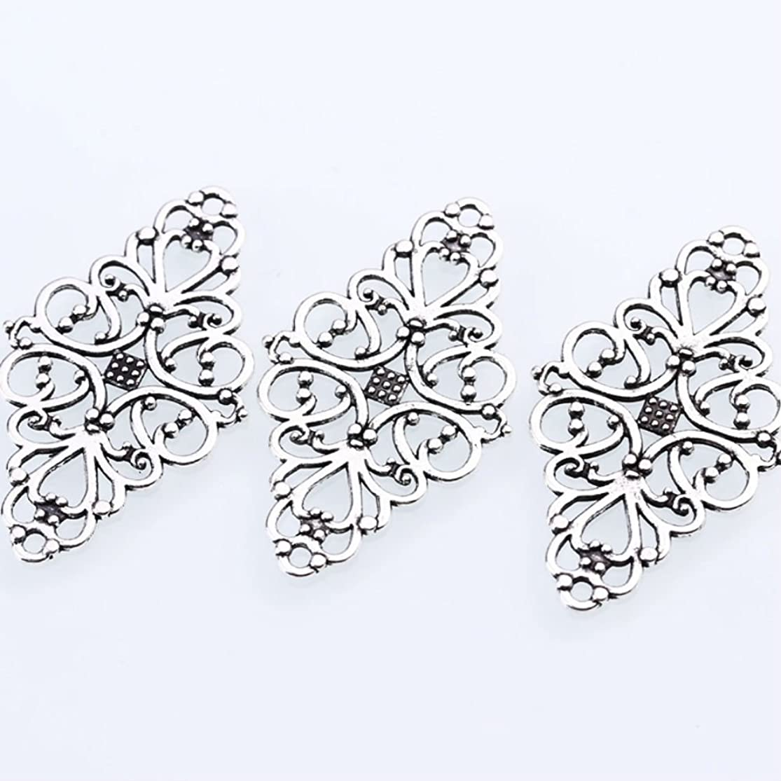 AKOAK 40 Pcs/Pack Antique Silver Hollow Filigree Flower Charms Jewelry Connectors Vintage Metal Zinc Alloy Trendy Filigree Charms for DIY Jewelry Making rinapcxf0