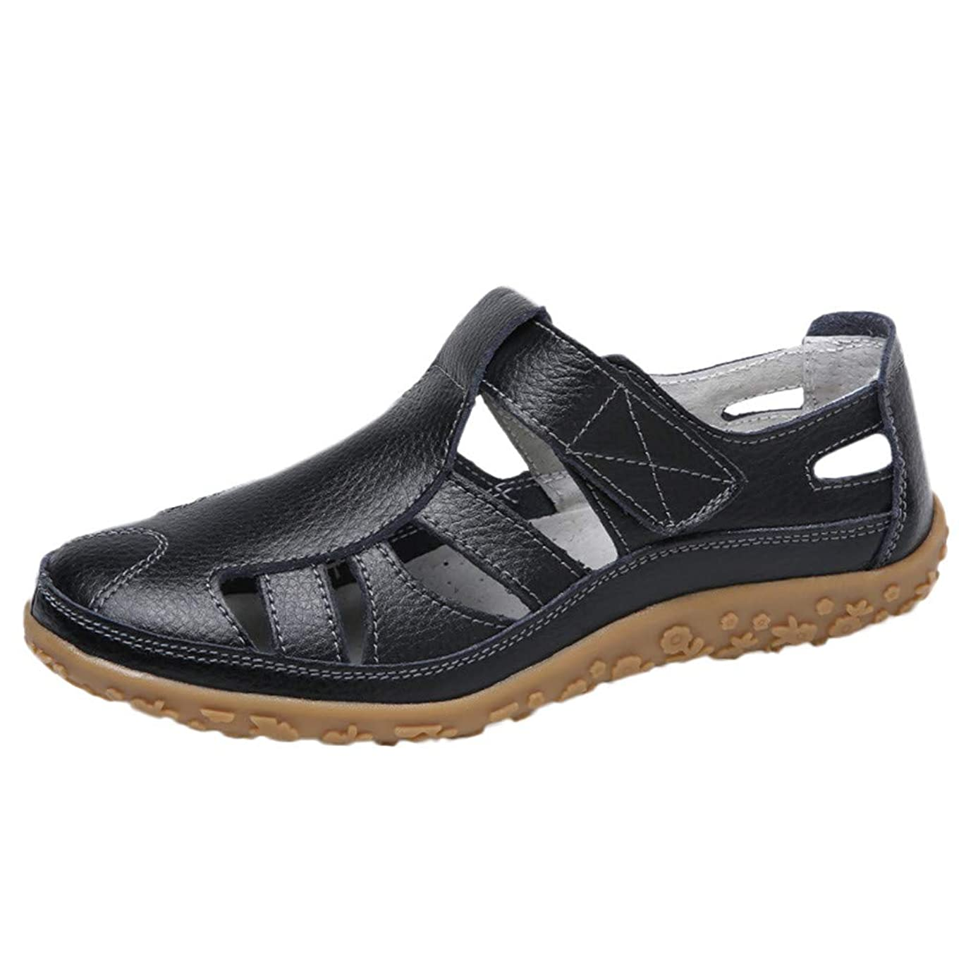 SMALLE_Shoes Closed Toe Sandals for Women,Summer Leather Loafers Moccasins Hollow Out Casual Flats Breathable Sandals