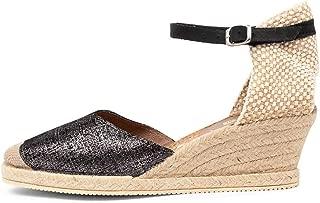 diana ferrari Talori Black&Silver Suede Womens Shoes Espadrilles High Heels
