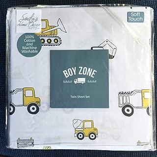 Boy Zone Twin Sheet Set Construction Vehicles | 100% Easy-Care Cotton