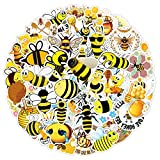 50 pcs Bee Stickers and Decals, Waterproof Cute Bee Vinyl Sticker Pack with Honey/Bumble/Queen Bee for Laptop Water Bottle Hydroflasks Envelopes Crafts Car Cups Party Favors