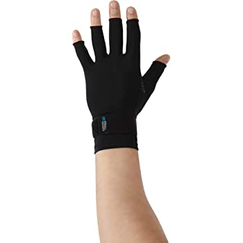 Copper Fit ICE Compression Gloves Infused with Menthol and Coq10 for Recovery, Black