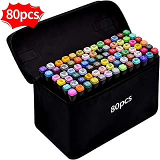 Rotulador de 80 Colores, SGS Certificación Marker Pen Marcadores Creativos de Rotulador Alcohol de Punta Doble ara Acuarela Graffiti para Principiantes Set de Rotuladores de Boceto Hecho a Mano