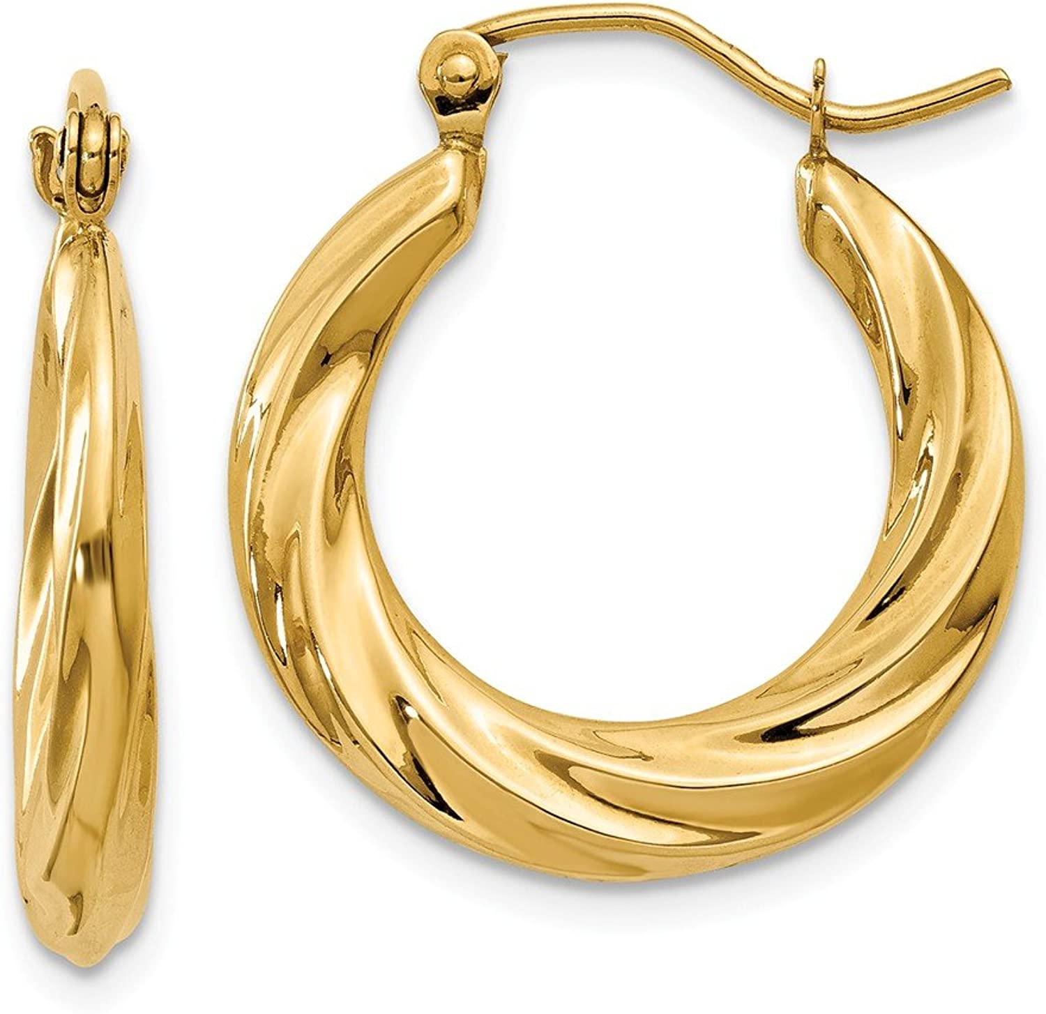 Beautiful Yellow gold 14K Yellowgold 14k Polished Twisted Hollow Hoop Earrings