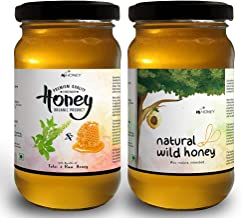 HiHoney Natural, Raw and Unpasteurized Saurashtra Honey Bee Farm Organic Forest Honey and Tulsi Infused Honey Combo Glass Jar (250 g + 20 g x 2)