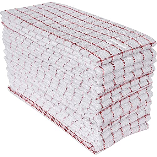 BolBomS 100% Cotton Kitchen Towels,Pack of 12 Pieces, Size 16 x 26 Inches, Super Soft and Absorbent Dish Towels, Tea Towels and Bar Towels-Red & White