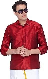 Vastramay Men Blue Cotton Silk Ethnic Shirt (VASMSH002BU)