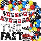 Juego de dos decoraciones de cumpleaños rápidas de carreras de globos de guirnalda, para coche de carrera, banderas para tartas de 2 años de edad, monstruo, camión, suministros para fiesta