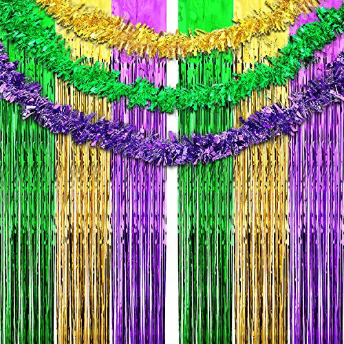 9 Pieces Mardi Gras Party Decoration Gold Purple Green Metallic Foil Curtains Mardi Gras Fringe Curtains Shimmer Curtain Tinsel Garland for Carnival Bunting Party Decoration