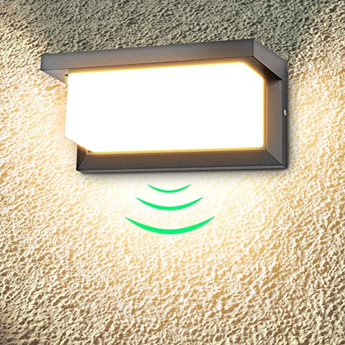 18W Aplique de pared exterior LED con detector de movimiento aplique led exterior 3000K blanco cálido 1260lm Impermeable IP65