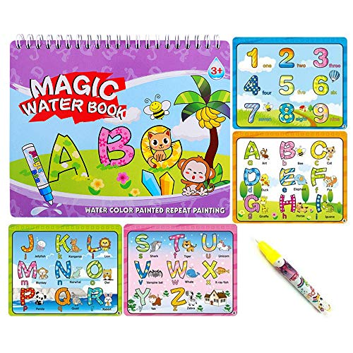 Sipobuy Magic Water Drawing Book Libro da colorare Acqua Doodle con Magic Pen Painting Board per Bambini Istruzione Drawing Toy (Letters And Numbers)