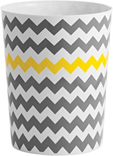 "iDesign Chevron Waste Can, Gray/Yellow, 8"" x 8"" x 10"""