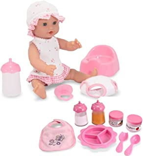 Melissa & Doug Bundle Includes 2 Items Mine to Love Annie 12-Inch Drink and Wet Poseable Baby Doll with Potty, Bottle, Pac...