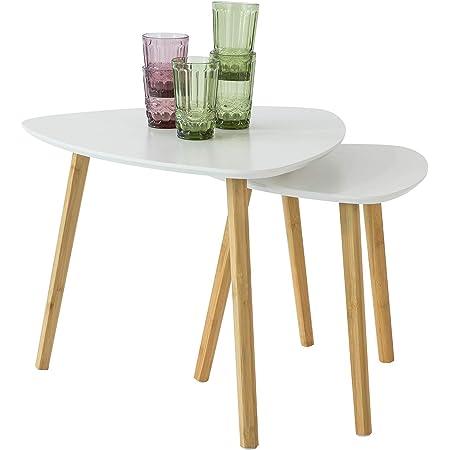 SoBuy® FBT74-W Tables Basses Gigognes Table café Table d'Appoint Table Basse Guéridon – Set de 2