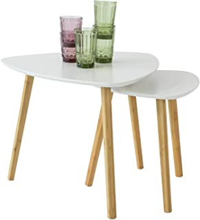 SoBuy Nesting Tables, Set of 2 Side Tables, White Coffee Tables, End Tables, FBT74-W