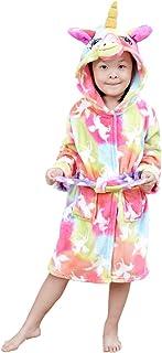 رداء استحمام بغطاء راس بتصميم يونيكورن، مصنوع من الفلانيل للاولاد والبنات، هدية مثالية للفتيات