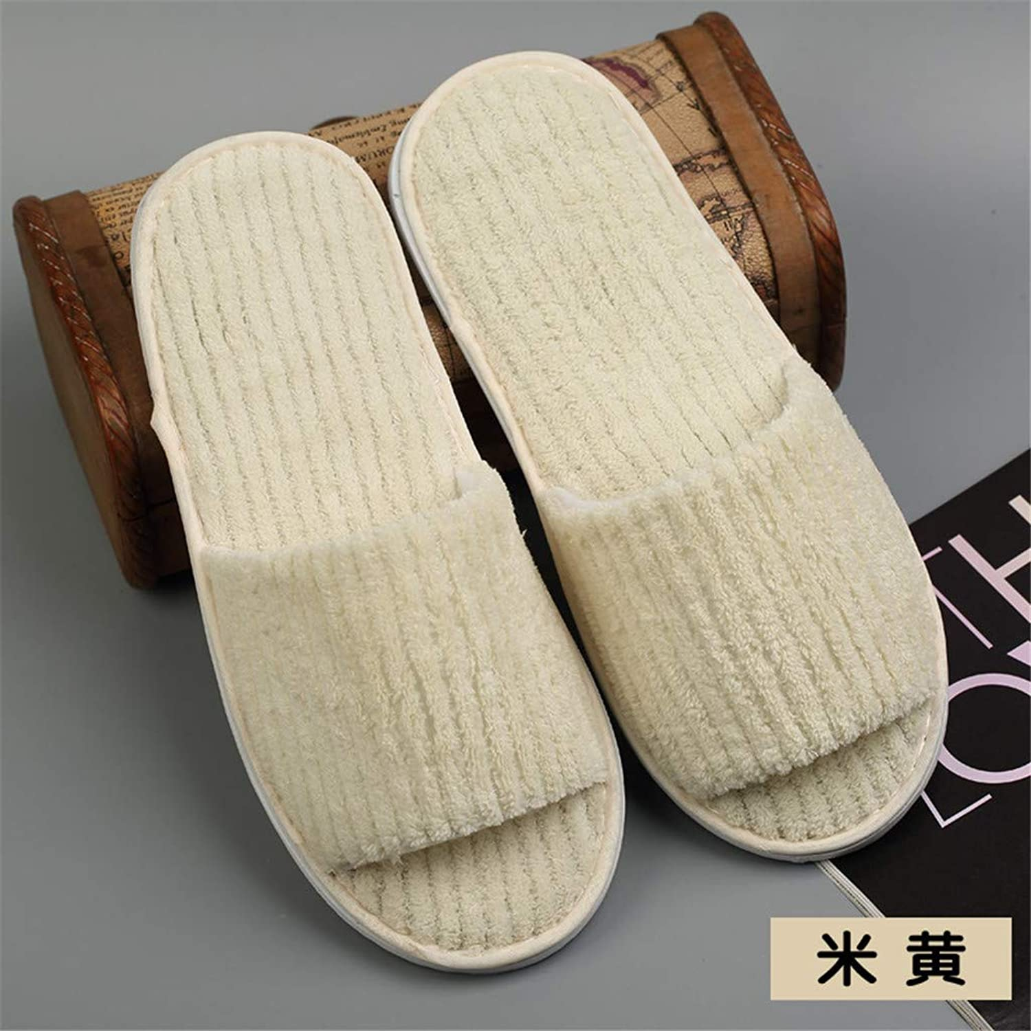 10 Pairs Coral Fleece Open Toe Slippers for Spa, Party Guest, Hotel and Travel, Washable and Non-Disposable, Easily Foldable and Portable,I