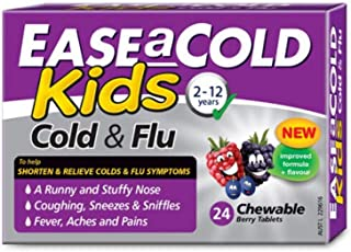 Ease A Cold Kids Berry Flavour Cold & Flu Chewables 24 Tablets, 24 count, Pack of 24