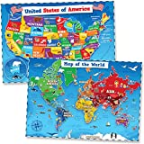 United States & World Map Poster for Kids - 2 Pc - 24 x 18 Inch Laminated USA & Map of the World Poster - Kids US Maps for Wall Posters for Learning, Classroom, Education, Back to School Resources