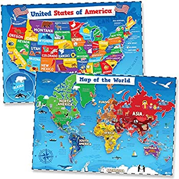 United States & World Map Poster for Kids - 2 Pc - 24 x 18 Inch Laminated USA & Map of the World Poster - Kids US Maps for Wall Posters for Classroom Decorations Education Back to School Resources