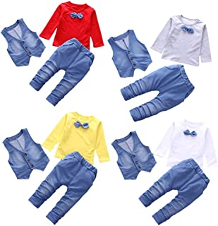 Daoope Completo Bimbo Estate Abbigliamento Bambino da Cerimonia 1 2 3 Anni Bambini Senza Maniche Sling Lace Lato Aperto Top Cordone Ombelicale Strisce Cinghia Pantaloni Set