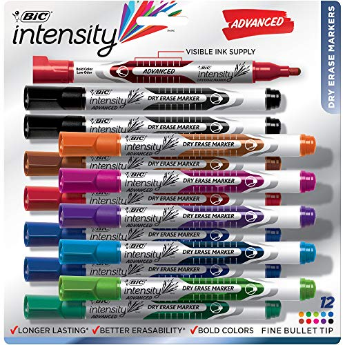 BIC Intensity Advanced Dry Erase Marker, Fine Bullet Tip, Assorted Colors, 12-Count (GELIPP121)