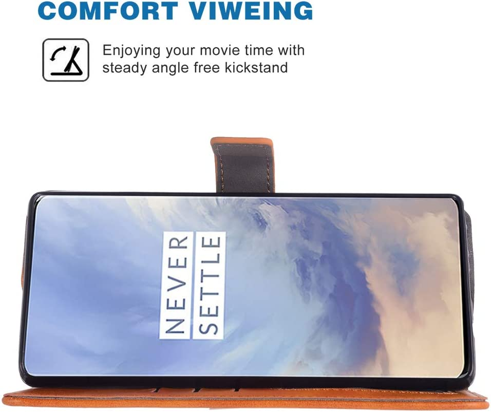 Phone Case for Oneplus 7 Pro Folio Flip Wallet Case,PU Leather Credit Card Holder Slots Full Body Protection Kickstand Phone Cover for Oneplus7Pro 5G One Plus 1+7 1Plus Oneplus7 7Pro Seven Brown