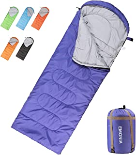 Emonia Camping Sleeping Bag, 3 Season Waterproof Outdoor Hiking Backpacking Sleeping Bag Perfect for Traveling,Lightweight Portable Envelope Sleeping Bags for Adults,Kids,Girls and Boys
