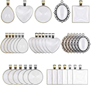 Anezus 60Pcs Pendant Trays, Bezel Pendant Trays Blanks with Glass Cabochons for Pendants Making and Jewelry Making, 5 Styles