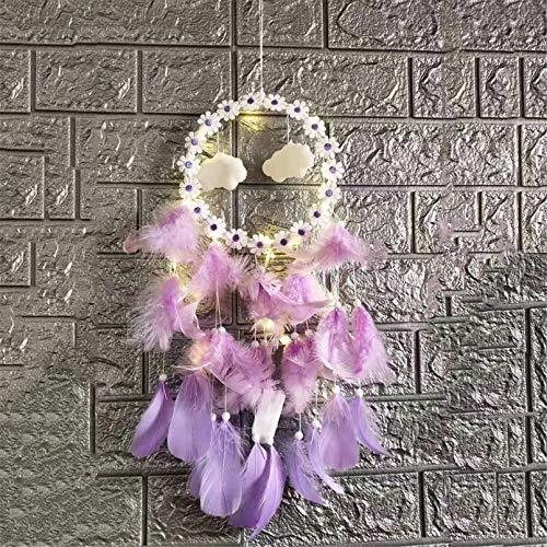 RAILONCH Atrapasueños con luz LED, hecho a mano con plumas, decoración romántica bohemia (lila, sin luces)