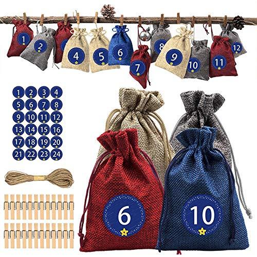 JIUJ Adventskalender, 24 Tage, Weihnachten, Countdown-Kalender, Sacklein-Tüten mit Kordelzug, Geschenktüten, Dekorationen für Urlaubsparty, 24 Aufkleber mit Zahl, 24 Holzclips, 10 m Hanfseil rot