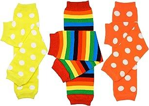 juDanzy 3 Pair Baby Boy And Girl Leg Warmers, Polka Dots, Bright Rainbow