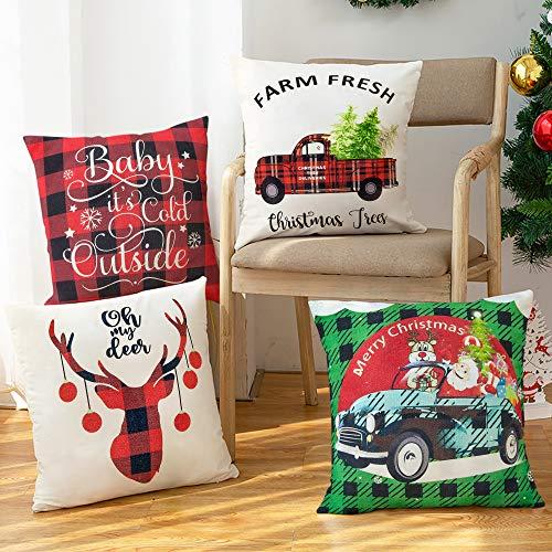 BININBOX Christmas Throw Pillow Covers 4 Set 18x18 Inch Cotton Linen Christmas Pillow Covers Red Buffalo Plaid Truck Green Plaid Christmas Decoration Cushion Pillowcase for Sofa Bedding