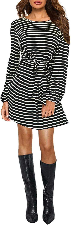 Women's Elegant Casual T Shirt Dress Tie Waist Lantern Long Sleeve Spring Summer Dresses 822