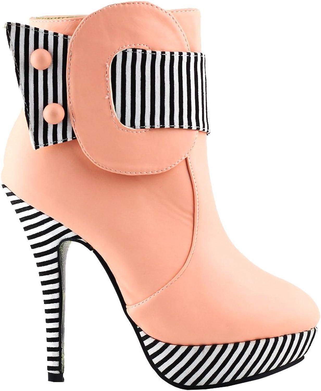Show Story Striped Button Zipper High Heel Stiletto Platform Ankle Boots,FZ97304