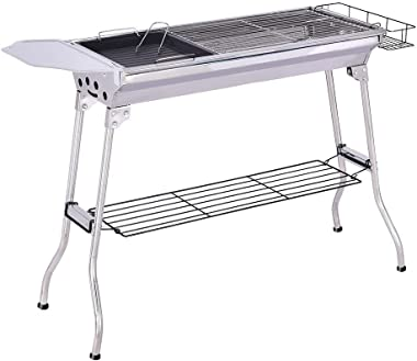 Tengma Charcoal Grill Portable BBQ - Stainless Steel Folding BBQ Party Camping Grill Large Grill Portable Camping Cooking Pat