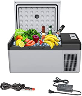 Portable Refrigerator/Freezer 16 Quart(15 Liter), Ansten Mini Fridge Electric Cooler for Driving, Travel, Fishing, Picnic Outdoor, Camping Outdoor and Home use 12/24V DC and 110-240 AC