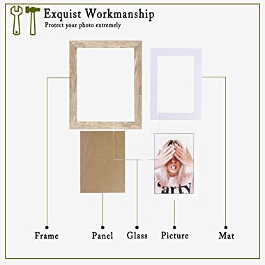 Scholartree Wide Molding Rustic 11x14 Picture Frames, Made of HD Glass Display Picture 8x10 with Mat, Light Brown Photo Frame