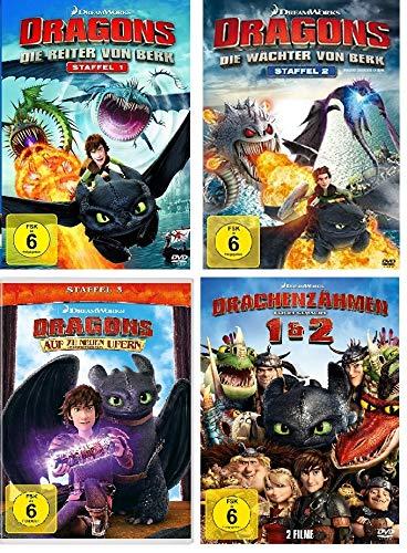 Dragons - Staffel 1 (Die Reiter von Berk) + Staffel 2 (Die Wächter von Berk) + Staffel 3 (Auf zu neue Ufern) + Drachenzähmen leicht gemacht Box 1/2 im Set - Deutsche Originalware [14 DVDs]