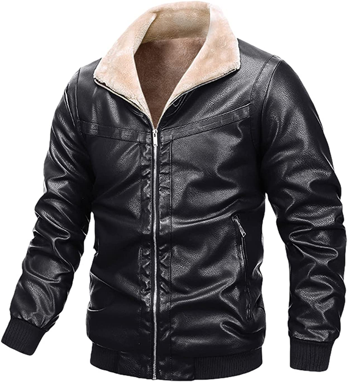 Haellun Men's Warm Stand Collar Full Zip Up Fleece Sherpa Lined Faux Leather Jacket Outwear