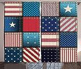Verdunkelungsvorhänge, Wärmeisolierung/Wärme im Winter, können Innenmöbel schützen & ultraviolette Strahlung reduzieren Patchwork der amerikanischen Flagge mit vertikalen & horizontalen Streifen
