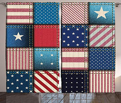 Waple Cortinas opacas ojete para sala de estar Patchwork de la bandera americana con estrellas y rayas verticales y horizontales 280*180cm Cortinas Opacas 3D Cortinas De Salon En Poliéster para Habita