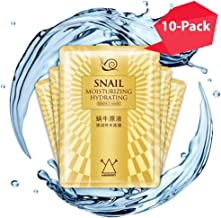 Hawwwy Snail Face Mask 10 Pack Hydration Mask, Full Face Sheet Mask Anti-Wrinkle Skin Repair Cells Rejuvenating Dry Skin Moisturizing Anti Acne Anti Aging Hydrating Best Beauty Facial Masks Men Women