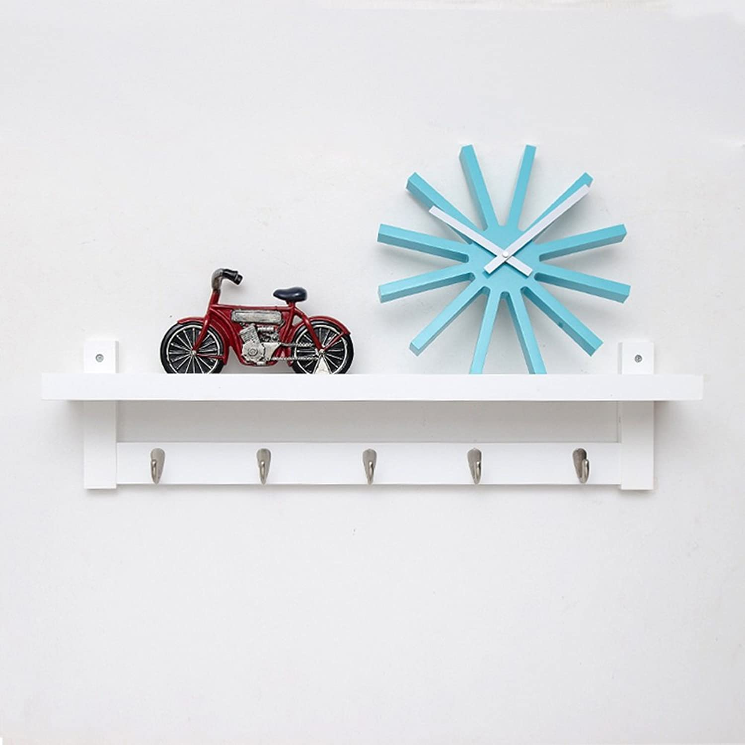 LIANGLIANG Floating Wall Shelves Shelf Coat Rack Hanger Top Ministry Storage Design Metal Hook Hanger Solid Wood 3 colors 3 Kinds of Sizes are Optional (color   White, Size   74  12  18cm)