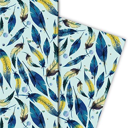 Kartenkaufrausch Elegante veer cadeaupapier set voor leuke cadeauverpakkingen, blauw geel op mint 4 vellen, 32x47,5 cm, decoratief papier, inpakpapier om te knutselen