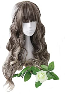 aiyaya Long Curly Wig - Natural Synthetic Hair Lolita Wigs with Wig Cap For Cosplay and Daily Wear (Gray Brown Mixed)